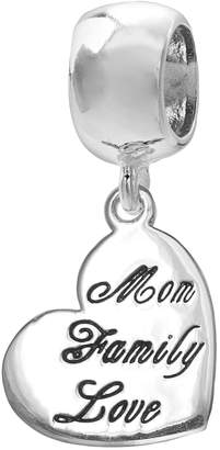 """Individuality Beads Sterling Silver """"Mom Family Love"""" Heart Charm"""