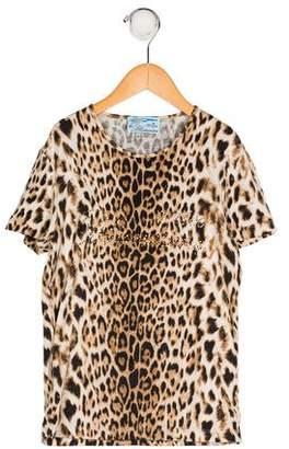 Blumarine Girls' Leopard Print Short Sleeve Top