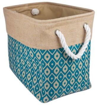 """DII Collapsible Burlap Storage Basket or Bin with Durable Cotton Handles, Home Organizational Solution for Office, Bedroom, Closet, Toys, & Laundry (Small - 14x8x9""""), Teal Ikat"""