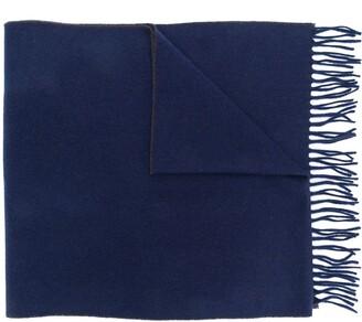 Brunello Cucinelli two tone fringed scarf