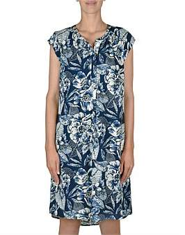 Jump Cap Sleeve Hawaiin Print Dress