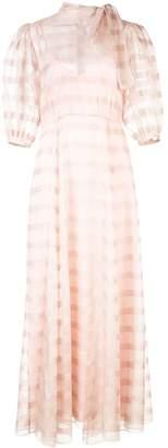 Jill Stuart sheer plaid puff sleeve dress