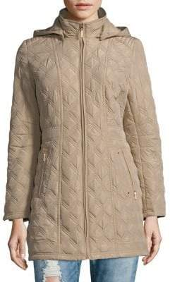 Weatherproof Hooded Quilted Coat