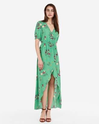 Express Floral Ruffle Surplice Wrap Hi-Lo Maxi Dress