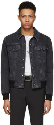 Saint Laurent Black Stone Wash Denim Jacket