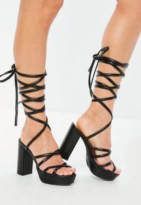 Missguided Black Faux Leather Platform Gladiator Heeled Sandals