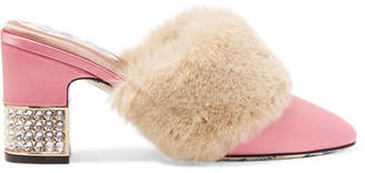 Gucci Candy Embellished Satin And Faux Fur Mules - Pink