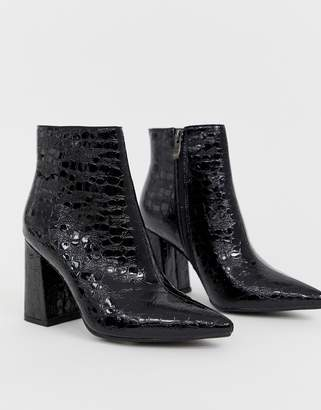 Public Desire Hollie black mock croc heeled ankle boots