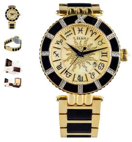 Seah Designs Unisex Diamond Accented Empyrean Zodiac Watch - 0.50 ctw