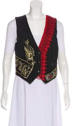 Galliano Embellished Pinstripe Vest