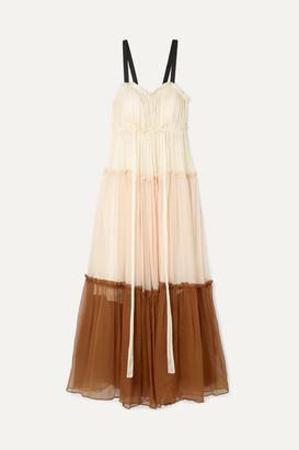 Lee Mathews - Celia Grosgrain-trimmed Ruffled Silk-crepon Maxi Dress - Ivory