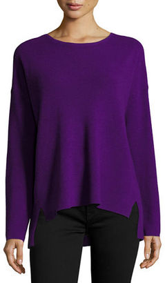 Eileen Fisher Long-Sleeve Boxy Ribbed Merino Wool Top $218 thestylecure.com