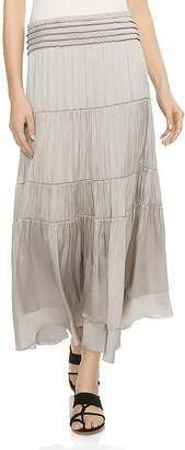 Halston Tiered Smocked Midi Skirt
