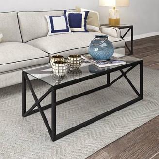 Hudson&Canal Dixon Blackened Bronze Geometric X-Base Metal & Glass Coffee Table
