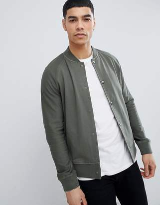 BOSS Sweat Bomber Jacket in Khaki