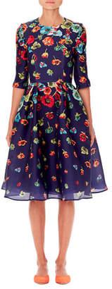 Carolina Herrera Floral-Print Elbow-Sleeve A-Line Dress