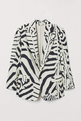 b46db295176e H M Zebra-striped Blazer - Black