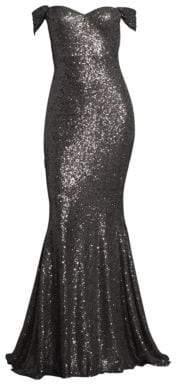 Basix Black Label Off-The-Shoulder Sequin Gown