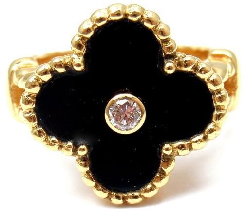 Van Cleef & ArpelsVan Cleef & Arpels 18K Yellow Gold Alhambra Onyx Diamond Ring 4.75