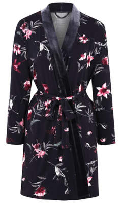 George Navy Floral Wrap Dressing Gown