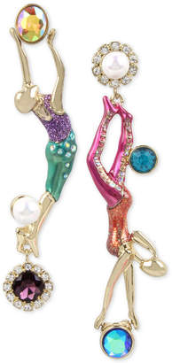 Betsey Johnson Gold-Tone Crystal & Imitation Pearl Trapeze Mismatch Earrings