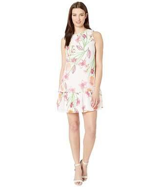 Calvin Klein Floral Chiffon Dress w/ Ruffle Hem