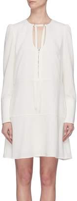 Proenza Schouler Cutout tie neck tiered crepe dress