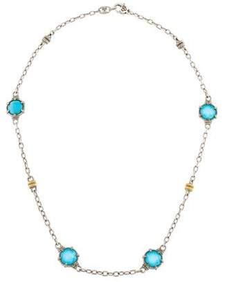 Judith Ripka Quartz & Turquoise Doublet Station Necklace