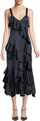 Cinq à Sept Gigi V-Neck Sleeveless Satin Ruffled Dress w/ Feather Trim
