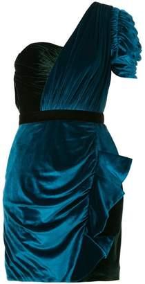 Self-Portrait one-shoulder draped mini dress