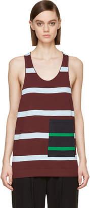 Stella McCartney Burgundy Alternating Stripe Pocket Tank Top