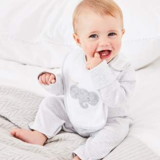 The White Company Stripe Sleepsuit & Elephant Bib Set