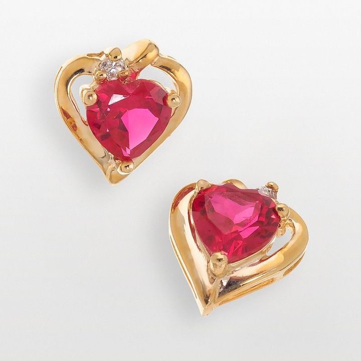 Heart-shaped lab-created ruby fluted earrings