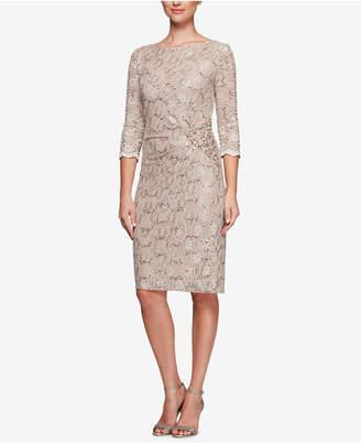 Alex Evenings Sequined Lace Sheath Dress
