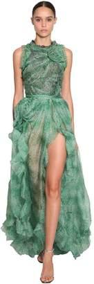 Ermanno Scervino Printed Long Ruffled Organza Dress