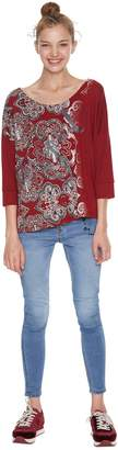 Desigual Tribal Print Crew Neck T-Shirt with 3/4 Length Sleeves