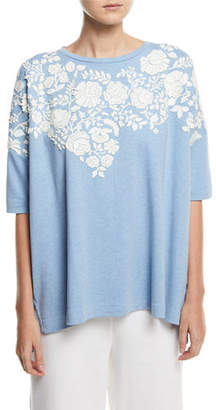Joan Vass Relaxed Big Tee with Floral Applique