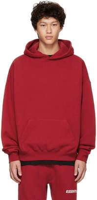 Essentials Red Logo Pullover Hoodie