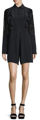 See by Chloe Long-Sleeve Poplin Lace-Trim Romper, Black $570 thestylecure.com