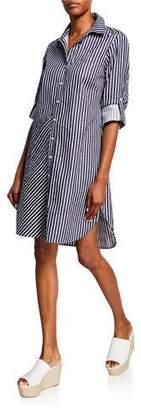 Finley Bailey Mitered Stripe Button-Down Shirtdress