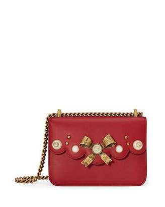 Gucci Peony Small Leather Chain Shoulder Bag, Red $1,850 thestylecure.com