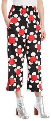 Marc Jacobs Daisy-Print Wide-Leg Zip-Cuff Track Pants