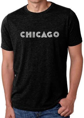 Blend of America LOS ANGELES POP ART Los Angeles Pop Art Men's Big & Tall Premium Word Art T-Shirt - Chicago Neighborhoods