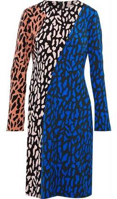 Diane von Furstenberg Leopard-Print Color-Block Cady Dress