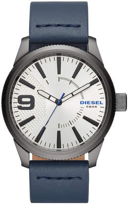 Diesel Men's Rasp Nsbb Blue Leather Strap Watch 46mm