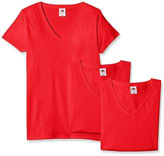 Fruit of the Loom Women's Valueweight V Neck Lady-Fit 3 T-Shirt,(Manufacturer Size: L/) Pack of 3