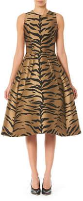 Carolina Herrera Tiger Print Taffeta Fit-&-Flare Dress