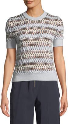 Carven Zigzag Jacquard Short-Sleeve Sweater