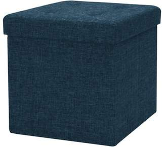 Sorbus Foldable Storage Ottoman Contemporary Faux Linen Ottoman with Cover