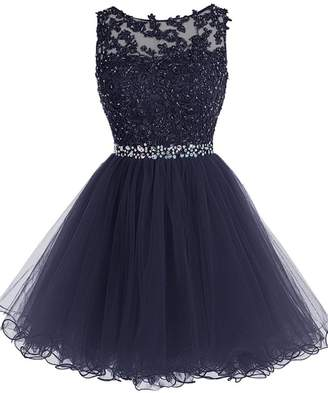 WDING Short Tulle Prom Dresses Lace Keyhole Back Party Dresses